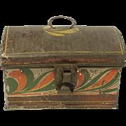 Small Tin American Toleware Box C.1840 Folk Art