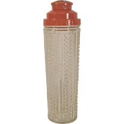 Vintage MEDCO Glass Cocktail Shaker Red Plastic Recipe Top