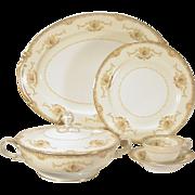 74 pcs Noritake Hibiscus China Dinnerware Service  White & Cream, Gold Trim  Pattern # 394