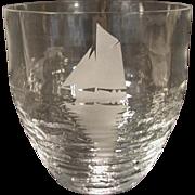 Scandinavian Art Glass Vase Lars Sestervik, Steninge Slott Ship at Sea on Waves Artist Signed