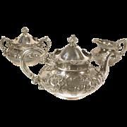 19th C. 3 pc Wilcox Repousse Silver Plate Tea Set Teapot Sugar Creamer 5051