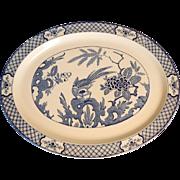 """Yuan 16"""" Blue & White Bird Platter Wood & Sons C.1920"""
