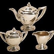 Graceful Pairpoint Silver Plate 3 Pc Tea Set Vintage Teapot Sugar Creamer