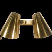 Mid Century Modern 2 Light Wall Lamp Adjustable Brass Finish
