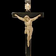 "Antique 28"" Plaster & Wood Wall Crucifix Jesus"