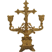Antique Standing Crucifix Candelabra Holy Water Font Gold Toned Finish