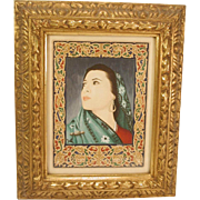 Original Painting Middle Eastern Woman in Ornate Frame Signed Vintage Manuscript Style