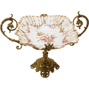 19thC Brass Mounted Hand Painted Porcelain Bowl Basket