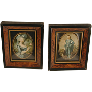 Pair Vintage Miniature Faux Burl Wood Frames Painted