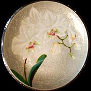 """Japanese 11 7/8"""" Wireless Cloisonne Enamel on Copper Plate Orchids Oriental"""
