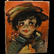 Signed Dupont Paris Oil Painting Street Urchin Child Vintage
