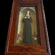 Old Saint Rita of Cascia Large Religious Wood Shadowbox