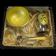 Meka Denmark Boxed Sterling Silver enamel Shaker, Open Salt & Spoon Set