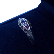 Antique Edwardian English Hallmarked 18ct 18k Gold Ruby and Diamond Gypsy Ring