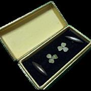 Lucky Antique Irish Silver and Connemara Marble Shamrock Cufflinks .Original Dublin Box. C1900