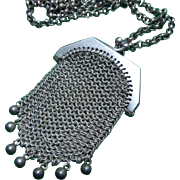 Antique French Silver Miniature Chatelaine Purse Pendant and Chain C1890