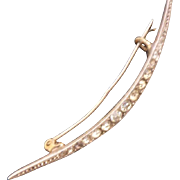 Elegant Antique French? 900 Silver & White Paste New Moon Brooch C1900