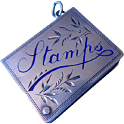 Charming Antique Edwardian HM English Silver & Enamelled Chatelaine Stamp Book Locket