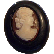 Sweet Tiny Antique Victorian Whitby Jet & Shell Cameo Mourning Brooch Pin