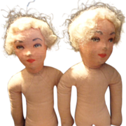 Adorable Twin Pair of Small French Vintage Art Deco Boudoir Dolls.Unclothed Project