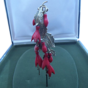 SOLD RESERVED FOR NORAH Delightful Antique Victorian Cascading Hair Comb Pin.Gilt and Faux Cor
