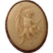Charming Antique Victorian Cream Glass Cameo Brooch Pin. Cherub on Swing C1880