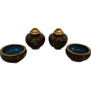 2 Sets of Chinese Cloisonne Salt Cellars and Pepper Shakers