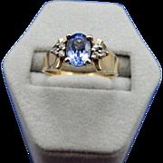 REDUCED 10 Karat Tanzanite and Diamond Ring