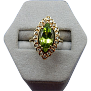 REDUCED 14 Karat Estate Peridot and Diamond Ring