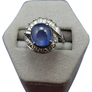 REDUCED Vintage Platinum Cabochon Star Sapphire and Diamond Ring