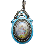REDUCED Vintage Sterling Silver Guilloche Enameled, Hand Painted Porcelain, and Seed Pearl ...