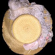 Wonderful Old Woven Doll Hat with Velvet Ribbon.