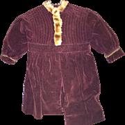 Old Velvet Faux Fur Lined Larger Doll or Teddy Bear Dress