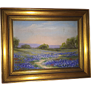 Vintage West Texas Bluebonnet Miniature Oil Painting on Board