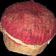 Antique Early Shaker Kitten Head Velvet Basket Weave Sewing Pin Cushion