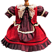 "SALE Red Plaid Mohair Doll Dress fits 17""-18"" Antique French Doll Bebe Jumeau SFBJ ..."