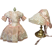 "SALE Sale ~ Silk Pink Doll Dress with Bonnet for 24-27"" Antique French Bebe ..."