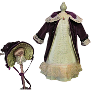 "Costume Velvet Jacket Dress Hat fits  21""-22"" French bebe or German Doll"