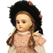 """Beautiful Vintage Straw Bonnet for your doll with head circumference of 14""""-15"""" with wig o"""