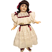 "White Antique Cotton Doll Dress for your 28-30"" German Doll or French Bebe."