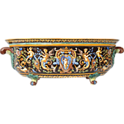 SALE Antique French Gien faience jardiniere, second half 19th century.