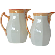 SALE Villeroy Boch Schramberg, pair of ceramic pitchers, circa 1890.