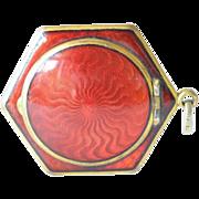 SALE Gilded metal hexagonal guilloche enamel  pendant compact, 1920s.