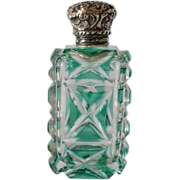 SALE Victorian, late 1800s, green overlay glass scent bottle.