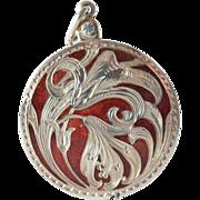 SALE Silver ( 800 - 900 ) ruby red enamelled pendant sliding mirror,  1904 c.