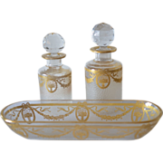 SALE Antique, French, 1900c., Saint Louis pair of perfume bottles and dish.