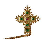 SALE A Christian Dior gilt cross and chain, 20th century.