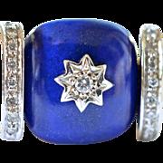 SALE 18k Gold and Lapis Lazuli Ring, 20th century.