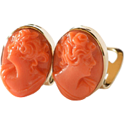 SALE Pair of carved coral cameo earrings mounted in 18ct gold, 1980c.