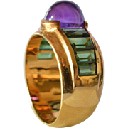 SALE A gold ( 18ct. ) ring with amethyst and tourmeline, mid 20th century.